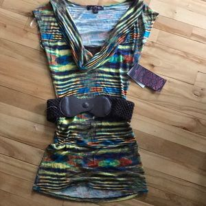 Almost Famous bright abstract stripe knit top NWT